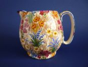 Early Grimwades Royal Winton 'Marguerite' Chintz Globe Jug c1930 (Blue Trim)